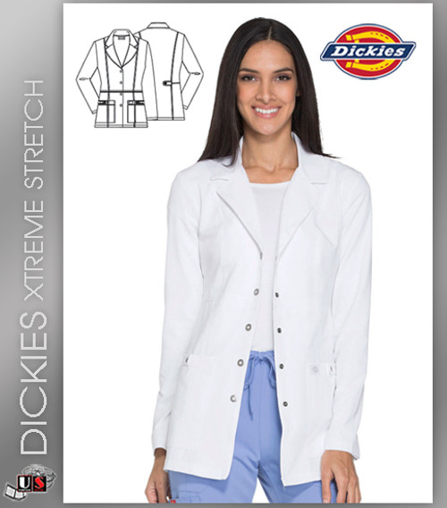 "Dickies XTreme Stretch 28"" Snap Front Lab Coat"