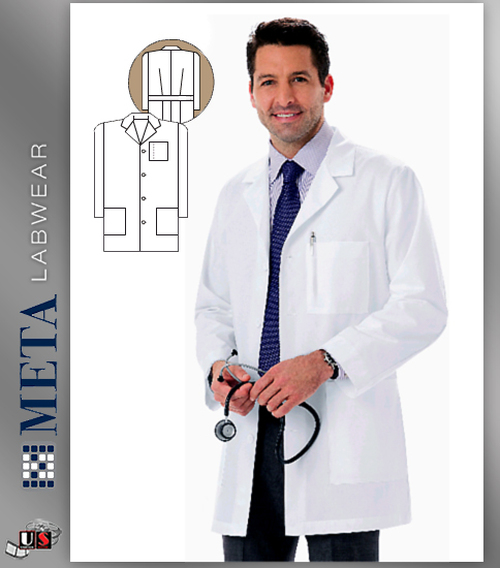 "1168 META Labwear Men's Mid-Length 34"" Lab Coat"