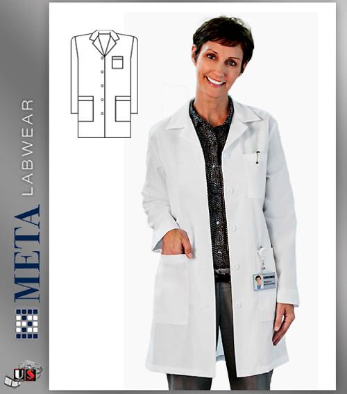 "6150 META Labwear Women's Mid-Length 35"" Lab Coat"