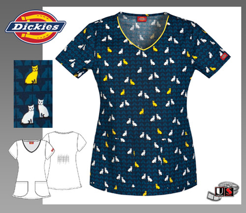 Dickies Gen Flex Jr. Fit V-Neck Top in Meow And Then