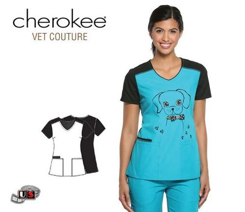 Cherokee Vet Fashionable Give A Dog A Bow V-Neck Top
