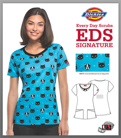 Dickies EDS Printed Right Here, Right Meow Jr. Fit Round Neck Top