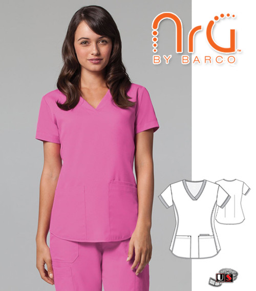 NRG by Barco Solid 3 Pockets V-Neck Scrub Top