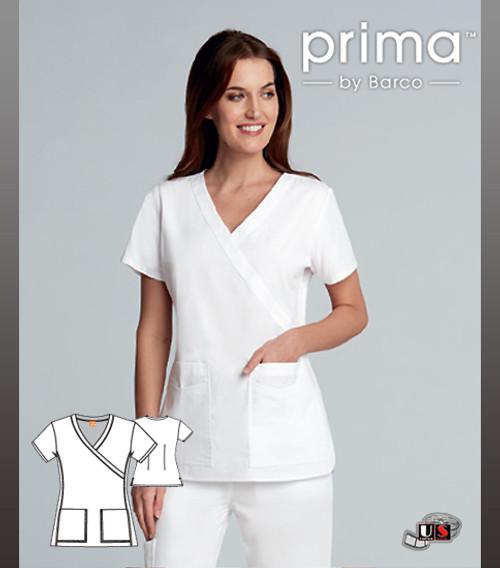 Barco Prima Mock Wrap Fashion White Four Pockets Scrub Top