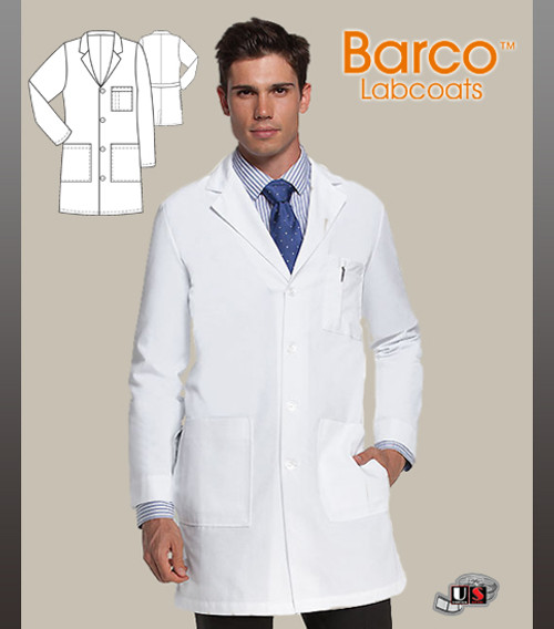 "Barco White 37"" Men's 6 Pocket Labcoat with Four Patch Pockets"