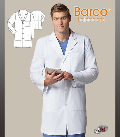 "Barco 38"" 4 Pocket Classic Men's Lab Coat with 4 Patch Pockets"