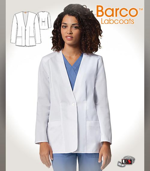"Barco Prima White 28"" Womens 2 Pockets Short-Length Lab Coat"