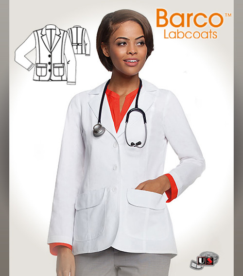 """Barco's 28"""" Women's Button Flap-Pocket Short-Length Lab Coat"""