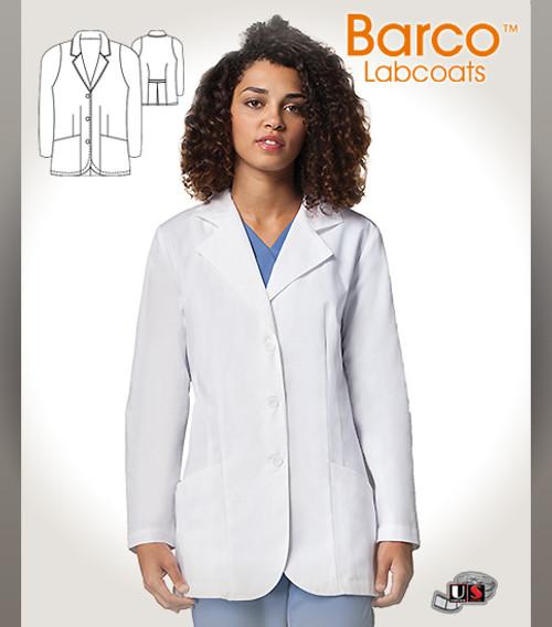 "Barco White 30"" Women's 3 Buttons Mid-length Labcoat"
