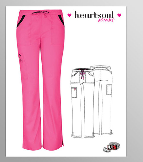 "HeartSoul Breast Cancer Awareness ""Charmed"" Low-Rise Drawstring Cargo Pant - Pink"