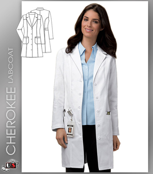 """CHEROKEE Next Generation 36"""" Fit and Flare Lab Coat"""