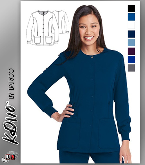 KD110 by Barco HAYLEY 4-Pocket Round Neck Warm-Up Jacket