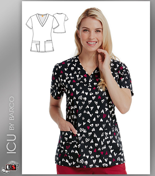 ICU by Barco Sweetheart Print V-Neck 4 Pocket Scrub Top