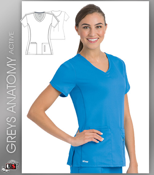 Greys Anatomy Active 4 Pocket Crossover V-Neck Top