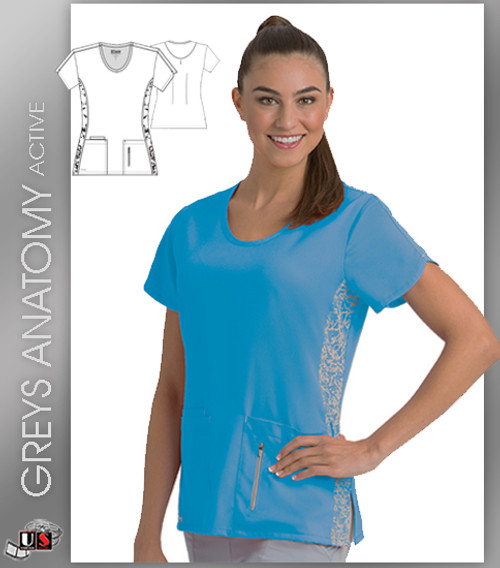 Greys Anatomy Active 4 Pocket Round Neck Top