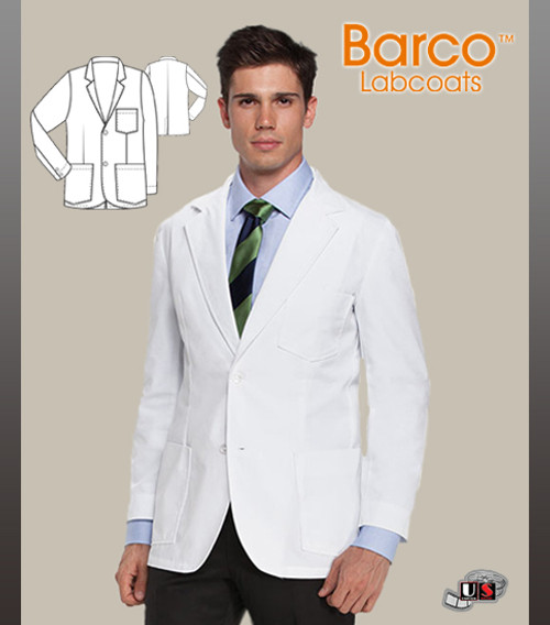 Barco Prima Men's Consultation Lab Coat with Three Mitre Pockets