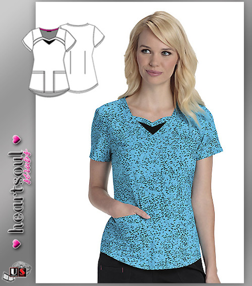 Heartsoul Women's You've Been Spotted Turquoise Sweetheart Neck Top