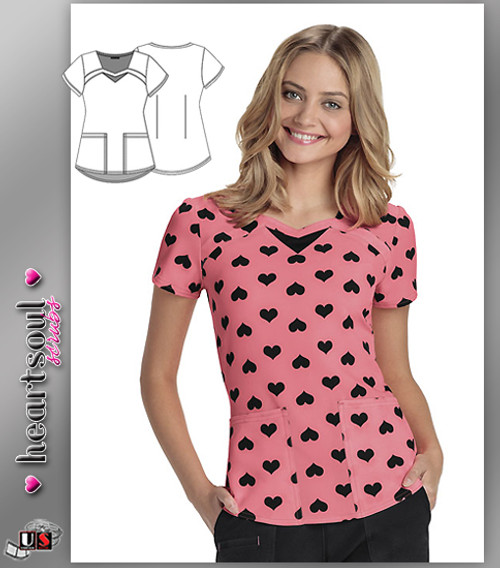 Heartsoul Women's Hard To Forget U Coral Sweetheart Neck Top