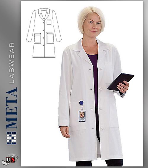 """763 Meta Ladies 38"""" Ladies Knot Button iPad® Labcoat"""