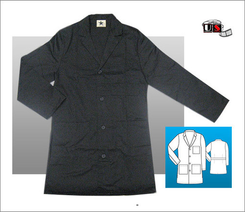 "Black Star 3 Front Patch Pockets 36"" Lab Coat"