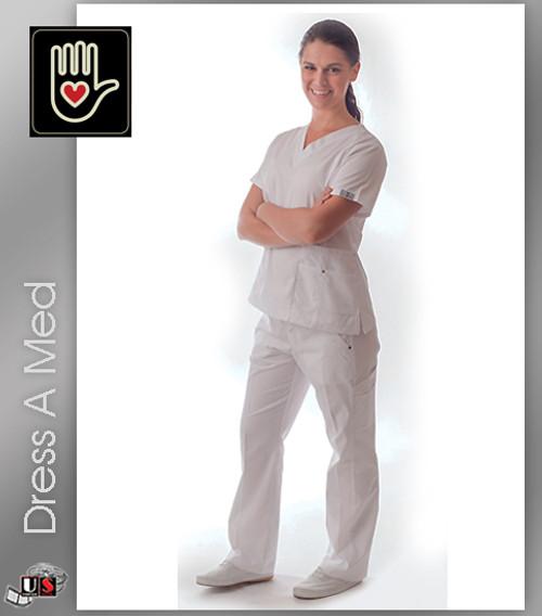 408-DRSS DRESS A MED Slim Fit Designer Rivet Pocket Scrubs Set