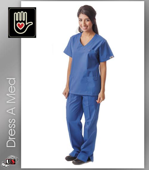 Dress A Med Solid Premium Mock Wrap 2 Pocket Top Set