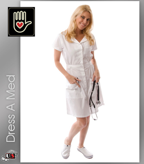 Dress A Med Medical Stylish Dress with Gathered Elastic Side Back Belt