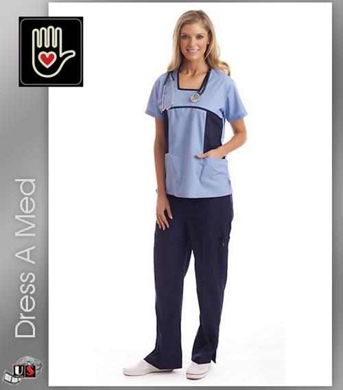 Dress A Med Solid Premium Squared Neck 2 Pocket Scrub Top Set