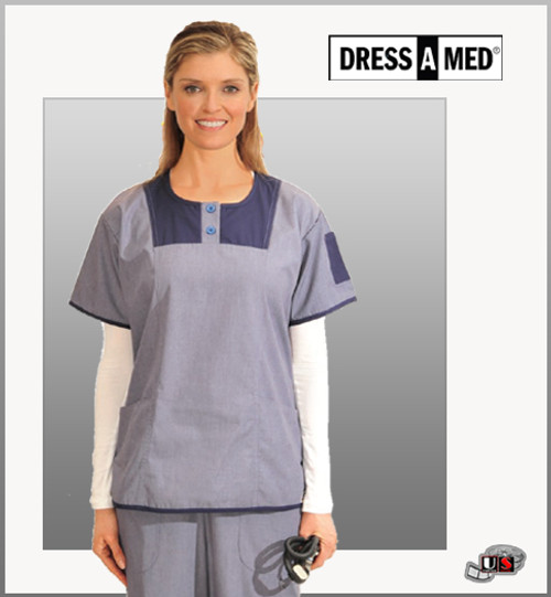 Dress A Med Solid Round Neck Top Nursing Scrub Set - Denim Set