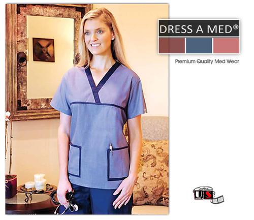 Dress A Med Solid Premium V- Neck Nursing Scrub Set - Denim