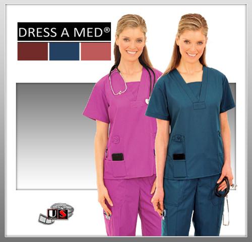Dress A Med Solid Premium V-Neck 4 Pocket Mock V-Neck Top Set