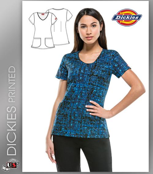 Dickies EDS Women's V-Neck Matrix My Day Print Scrub Top