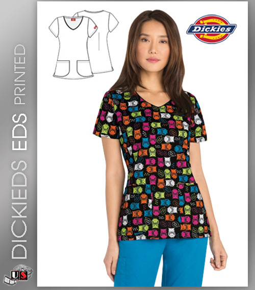 Dickies EDS Owl In A Row Women's V-Neck Top