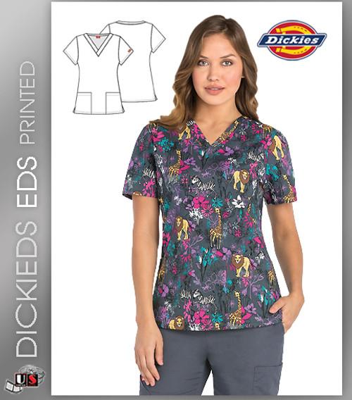 Dickies EDS Jungle Boogie Print Women's V-Neck Scrub Top