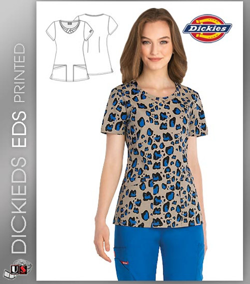 Dickies EDS Kitty Cat Camo Print Women's Round Neck Scrub Top
