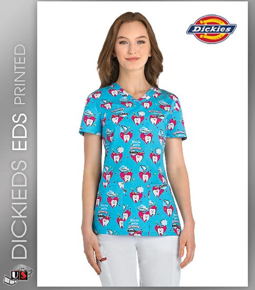 Dickies EDS Dreamers Gonna Dream Women's V-Neck Print Scrub Top