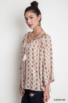 A1292 UMGEE Bohemian Cowgirl Bell Sleeve Tunic Top Taupe Mix