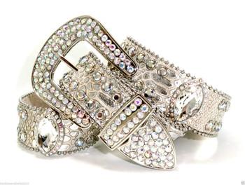20. B&B Cowgirl Western Champagne Silver AB Prism Cut Concho Leather Belt