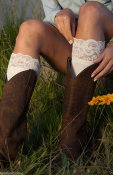 BOOTIGHTS Lacie Lace Darby Knee High/Ankle Sock Cream