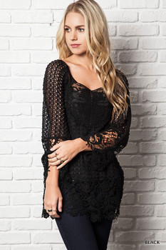 A7941 UMGEE Bohemian Cowgirl Semi Sheer Lace Tunic Top Black