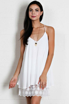 LT7041 Bohemian Cowgirl SOLID GAUGE CAMI DRESS Off White