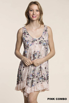 L5037 KORI Bohemian Cowgirl TANK FLARE DRESS WITH LACE DETAIL Pink Combo