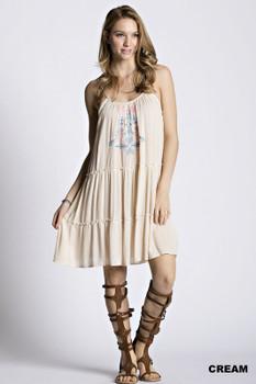 D1066 KORI Bohemian Cowgirl Embroidered Peasant Dress  Cream