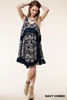 L5037 KORI Bohemian Cowgirl TANK FLARE DRESS WITH LACE DETAIL Navy Combo