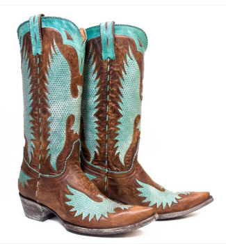 """L1276-4-SS OLD GRINGO IRON EAGLE 13"""" BRASS TURQUOISE LEATHER BOOTS"""