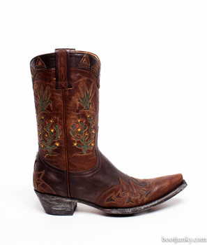 """L 412-36 SS Old Gringo Cactus PeeWee 10"""" Brass Chocolate Boots"""
