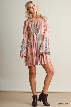 G0197 UMGEE Bohemian Cowgirl V Neck Print Dress with Bell Sleeves