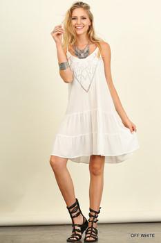 G0121 UMGEE Bohemian Cowgirl V-neck line Dress Off White