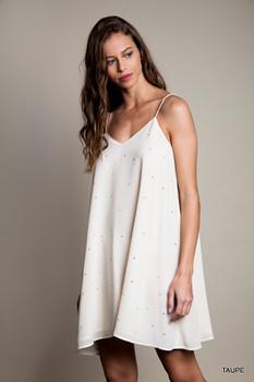 A1335 UMGEE Bohemian Cowgirl Rinestone Cami Dress Taupe
