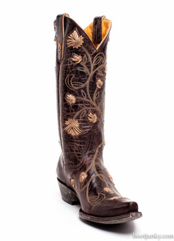 L 664-12-SS OLD GRINGO ABBY ROSE WOMENS BOOTS CHOCOLATE BONE WESTERN OVERLAY FLORETS